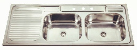 Two bowl one drain sink-KBDB12050R